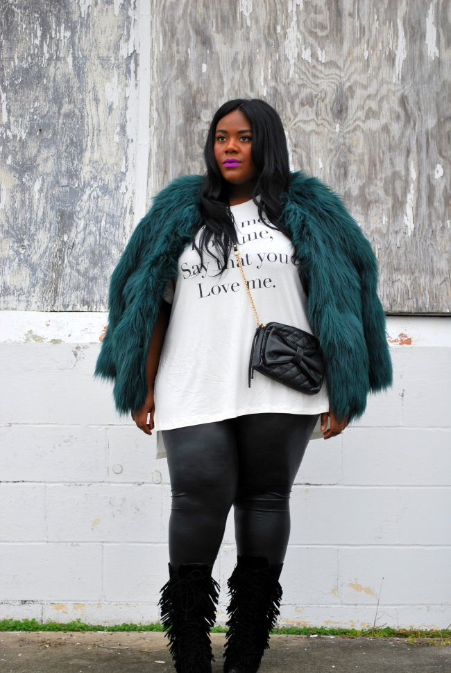 Musings of a Curvy Lady, Fashion Blogger, Fashion Blog, Plus Size Fashion Blog, Plus Size Fashion, OOTD, Faux Fur, Simply Be, Living Dolls LA, Leather Leggings, Fringe Boots, Shoe Dazzle, Lyrics, Quilted Crossover Bag, Matte lip stick