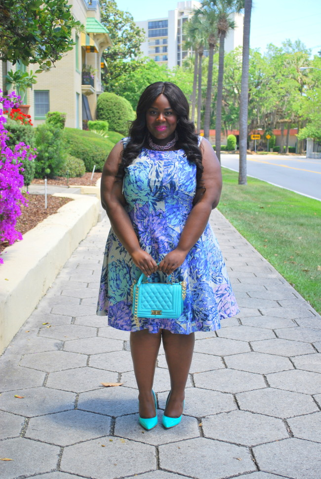 Musings of a Curvy Lady, Ideel, Plus Size Fashion, Fashion Blogger, Printed Dress, Fit and Flare Dress, Jacksonville, Florida, Women's Fashion