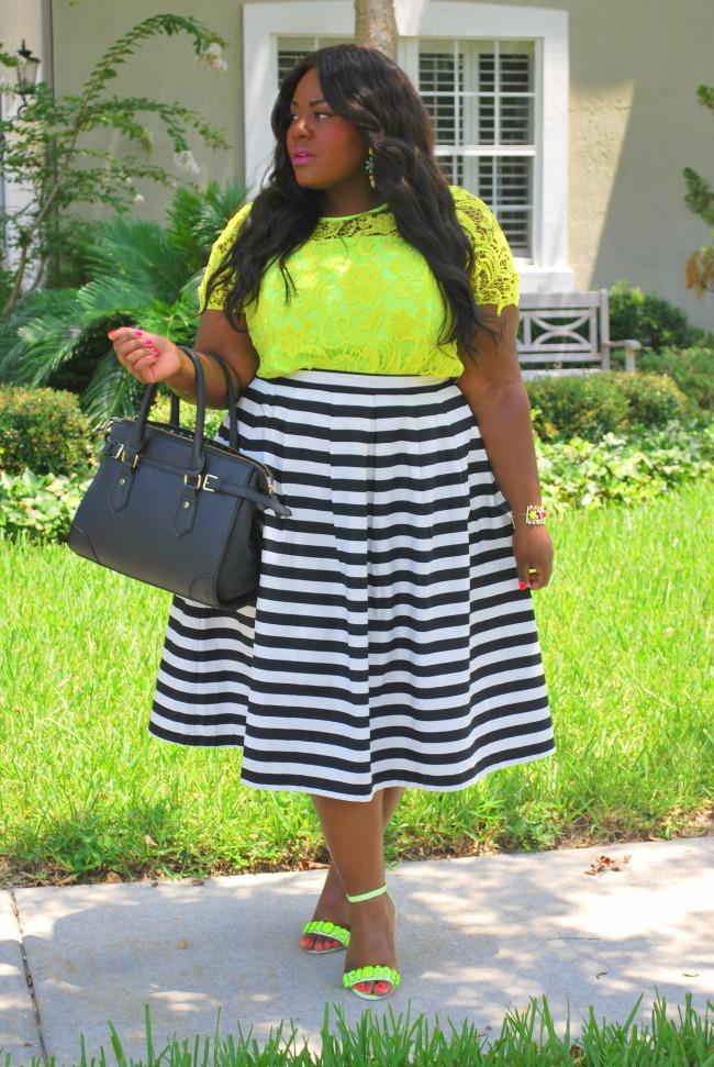Musings of a Curvy Lady, Plus Size Fashion, Fashion Blogger, ModCloth, Eloquii, Stripes, Midi Skirt, SheInside, Neon