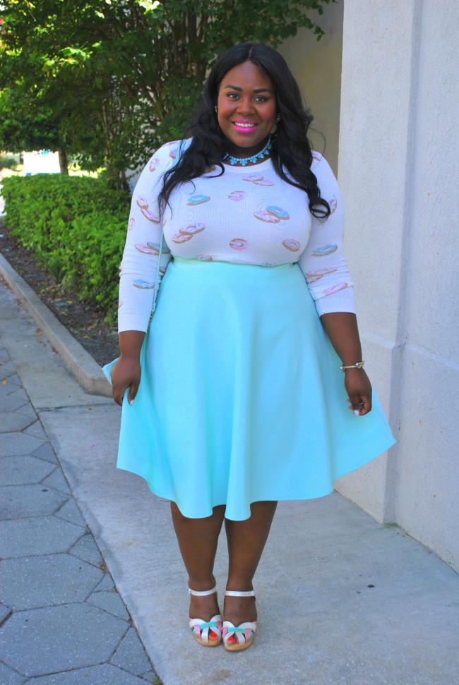 Musings of a Curvy Lady, Plus Size Fashion, Fashion Blogger, LC Lauren Conrad, ASOS Curve, Donut Print, Pastels, Swedish Hasbeen, Clogs, Midi Skirt, Women's Fashion, Style Hunter