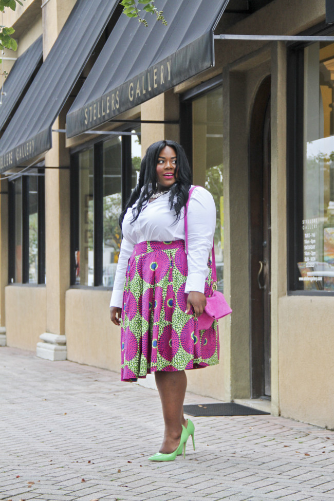 Musings of a Curvy Lady, Plus Size Fashion, Fashion Blogger, Style Hunter, RealOutfitGram, The Outfit, You Got It Right, People StyleWatch, Ankara Print, African Print, Box Pleats, Custom Made Skirt, Sseko Designs, Women's Fashion, OOTD