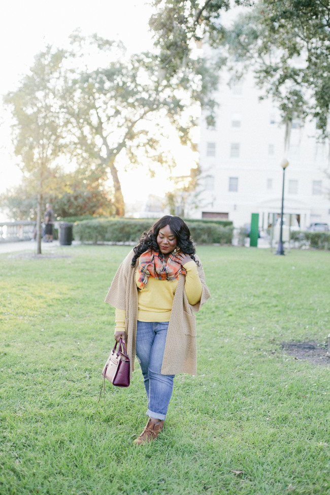 Musings of a Curvy Lady, Plus Size Fashion, Fashion Blogger, Lane Bryant, Fall Fashion, Casual Look, Plaid Scarf, Distressed BoyFriend Jeans, Old Navy, ShoeDazzle, Ankle Boots
