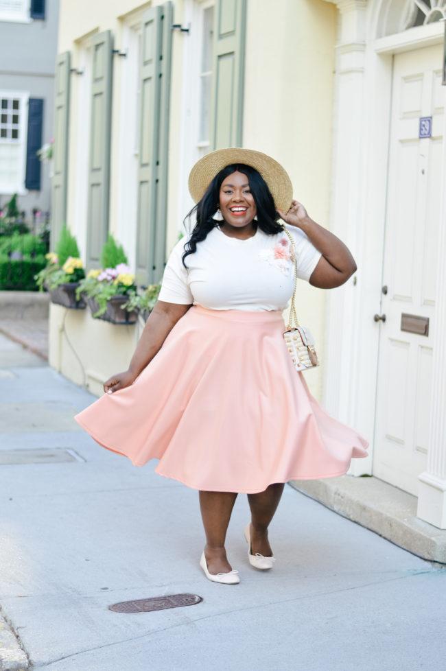 Musings of a Curvy Lady, Plus Size Fashion, Fashion Blogger, River Island, Peach, Southern Belle, Circle Skirt, Spring Fashion