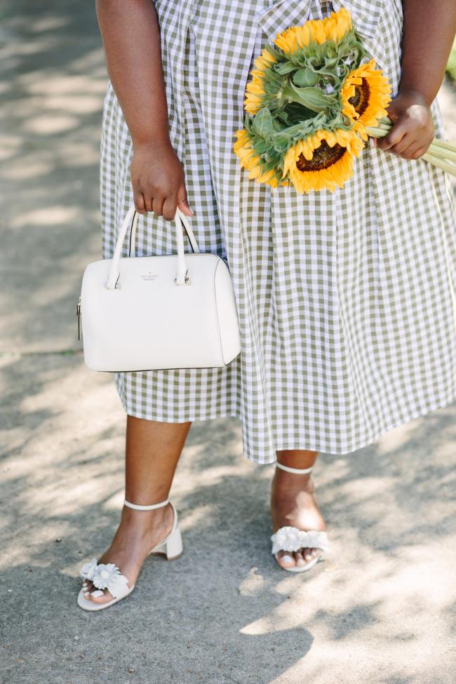 Retro, Vintage Inspired, Gingham Print Dress, Plus Size Fashion, Eloquii, Nanette Lepore Sandals, Kate Spade Cameron Lane Handbag, Lack of Color Boater Hat, White Picket Fence