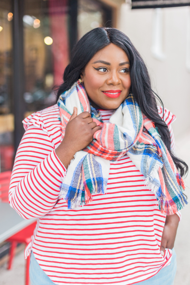 Musings of a Curvy Lady, Old Navy, Rockstar Jeans, Built-In-Warm Rockstar Jeans, Plus Size Jeans, Plus Size Denim, Fall Outfit Ideas, Red Stripe Shirt, Mix Prints Outfit, Stipes and Plaid, Suede Block Booties, Sephora 01 Cream Lip Stain, Jacksonville, Florida Blogger, New York Blogger, Miami Blogger,