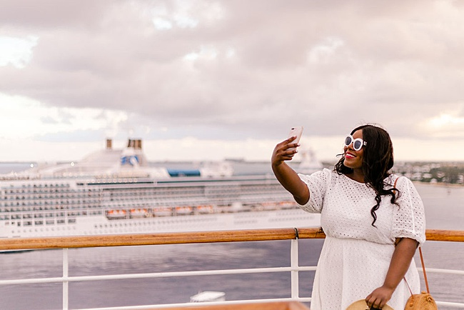 Princess Cruises, MedallionClass Experience, Medallion Class, Plus Size Travel, Cruisin' the Caribbean, #ComeBackNew, Vacation, Travel Vlog, Travel Tips, Cruise Life, Eyelet Dress, White Rimmed Sunnies, The Caribbean, Grand Cayman, Roatan, Belize City, Cozumel