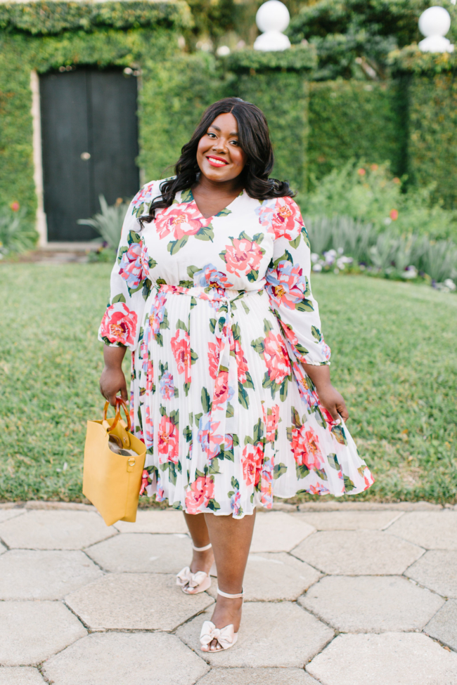 Musings of a Curvy Lady, BeautiCurve, Lane Bryant, Plus Size Fashion, Spring Dresses, Spring Fashion, Plus Size Spring Fashion Ideas, Spring Outfit Ideas, Floral Print Dress, Pleated Skirt, Florida Blogger, New York Blogger