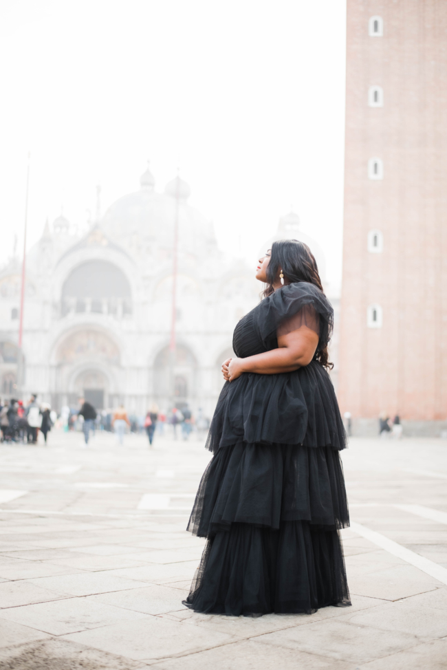 Lace and Beads Tulle Gown, Plus Size Fashion, Plus Size Gown, Venice Italy, Venice, San Marco Square, ASOS, Musings of a Curvy Lady, Kate Spade Licorice Heel, Fat Girls Traveling, Plus Model, Plus Size Model, NYC Blogger, European Blogger, Black Girls That Blog, Style, Curvy Style, Women's Fashion, Occasion wear, Plus Size Special Occasion
