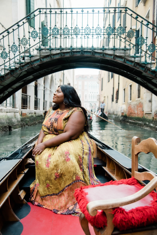 Venice Italy, Gondola Ride, Black women on gondola in Venice Italy