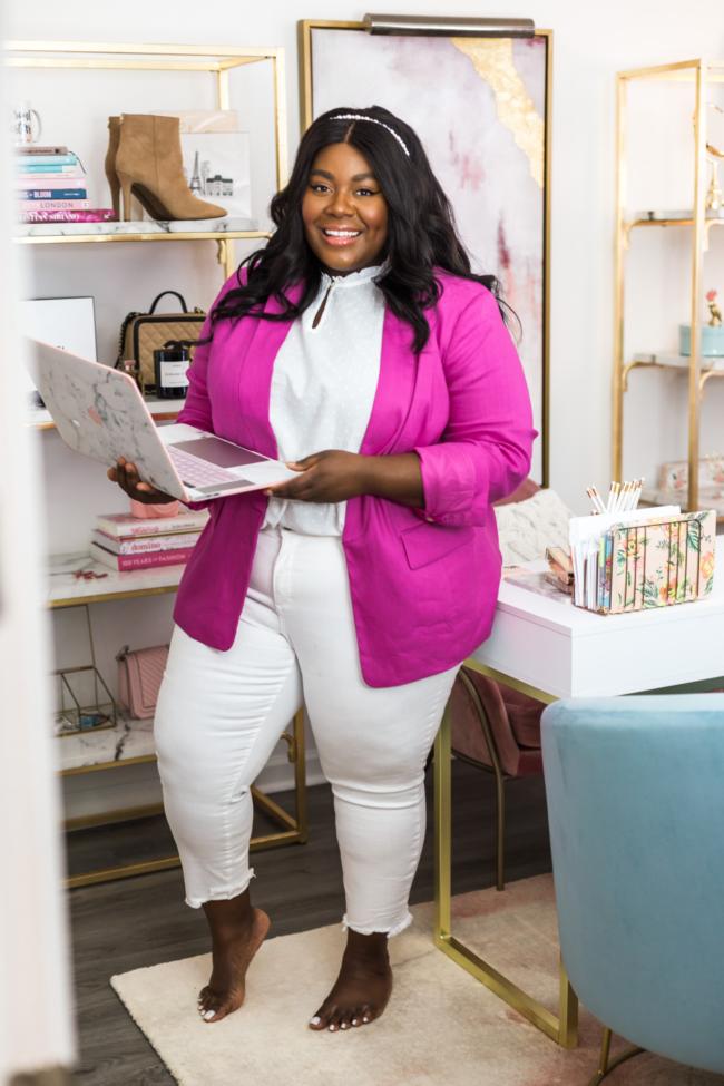 Loft, Work from Home, Quarantine, Covid-19, WFH Style, Quarantine Style, Zoom Meetings, Pink Blazer, White Jeans, Plus Size Fashion, Plus Size Work Wear