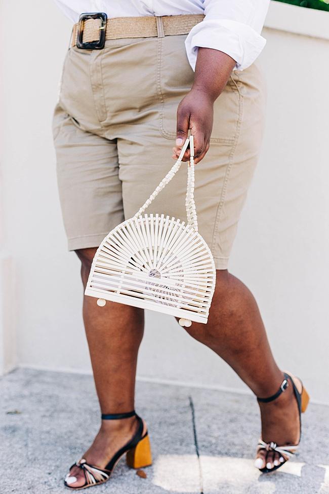 Lane Bryant, Safari Style, White Button Down Shirt, Bermuda Shorts, Lack of Color Palma Wide Brim Hat, Woven Belt, Plus Size Fashion, Summer Style, Women's Fashion