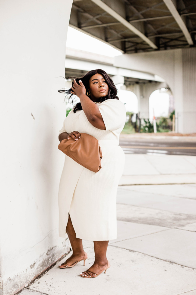 Anthropologie, Plus Size Fashion, All White Outfit, Musings of a Curvy Lady, Saturday/Sunday, Cozy Dress, Cozy Sweater Set, Dumpling Bag, Amazon Fashion, Steve Madden Loft Heels