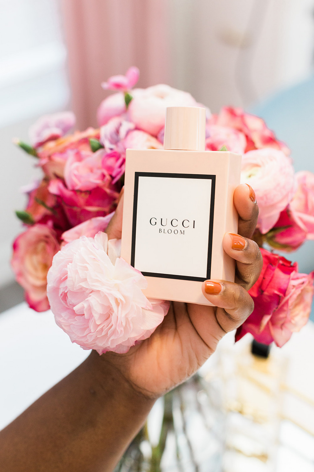 Gucci Bloom Perfume, Floral Bouquet, Pink Peonies, Pink Ranunculus, Perfume collection