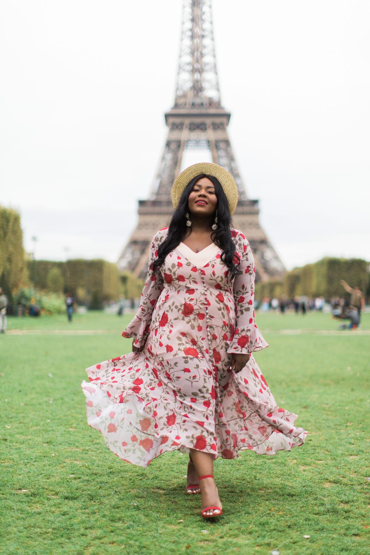 Black Girl walking in Paris Eiffel Tower