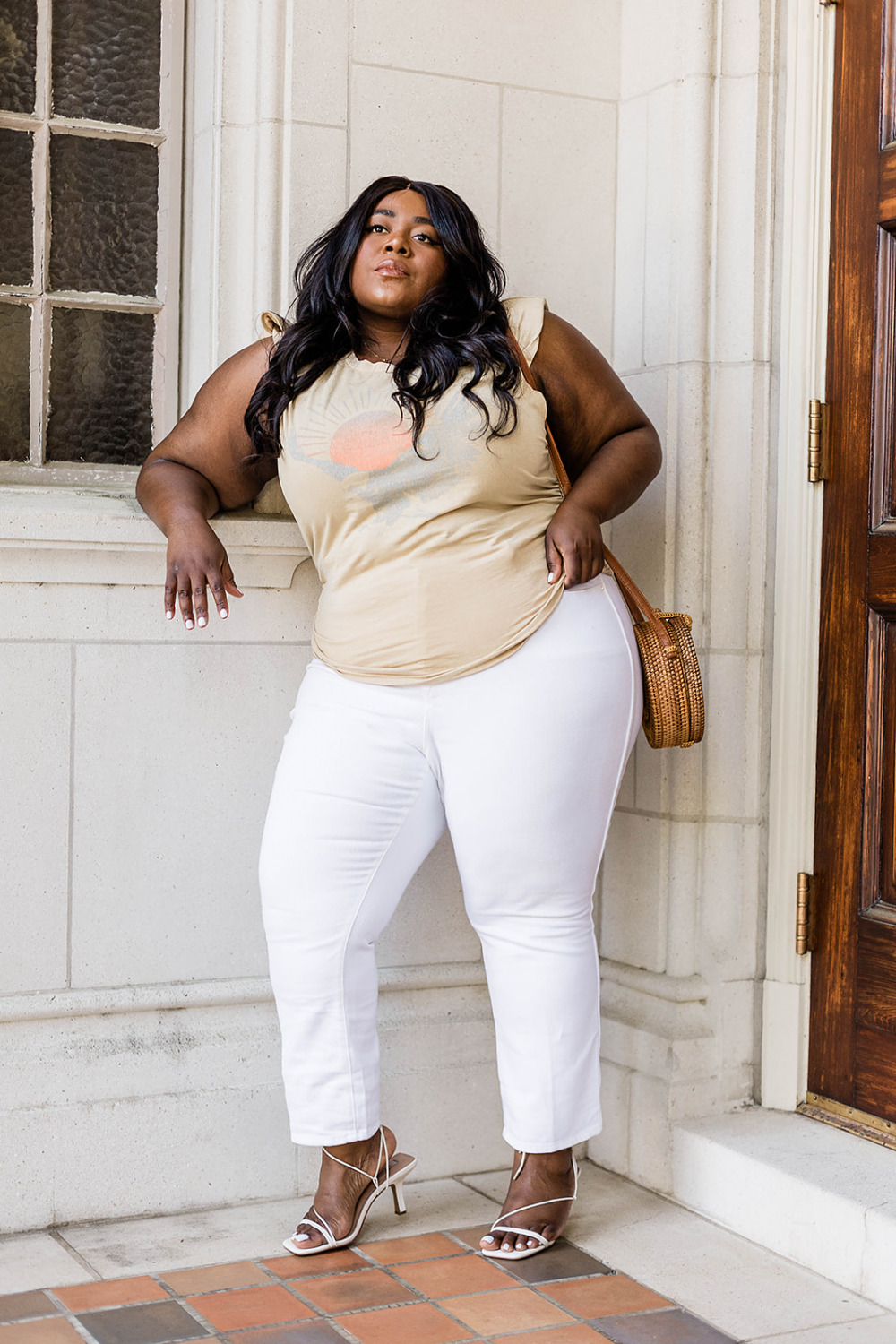 AFRM Graphic Muscle T, Good American Good Curve Jeans, Nordstrom Rack