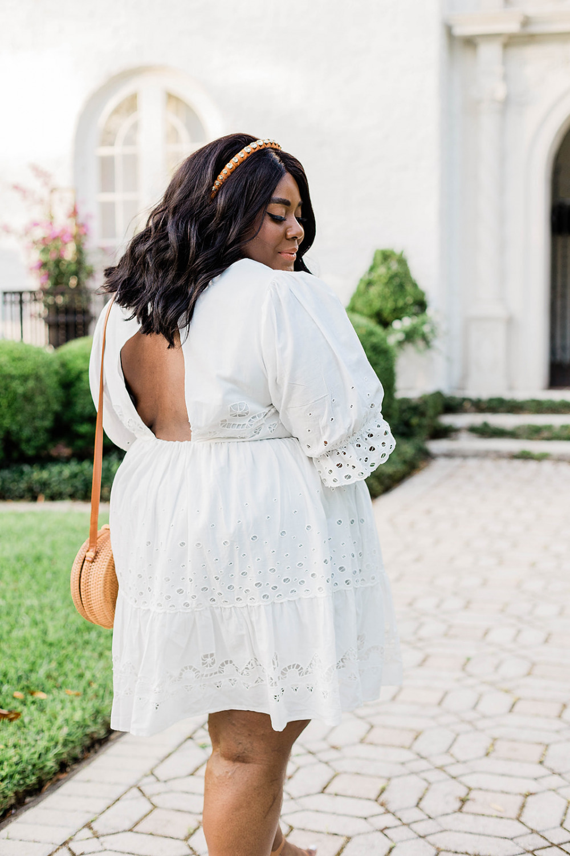 Anthropologie, Adrian Eyelet Mini Dress, White Eyelet Dress, Plus Size Spring Dresses, Black Plus Size Model