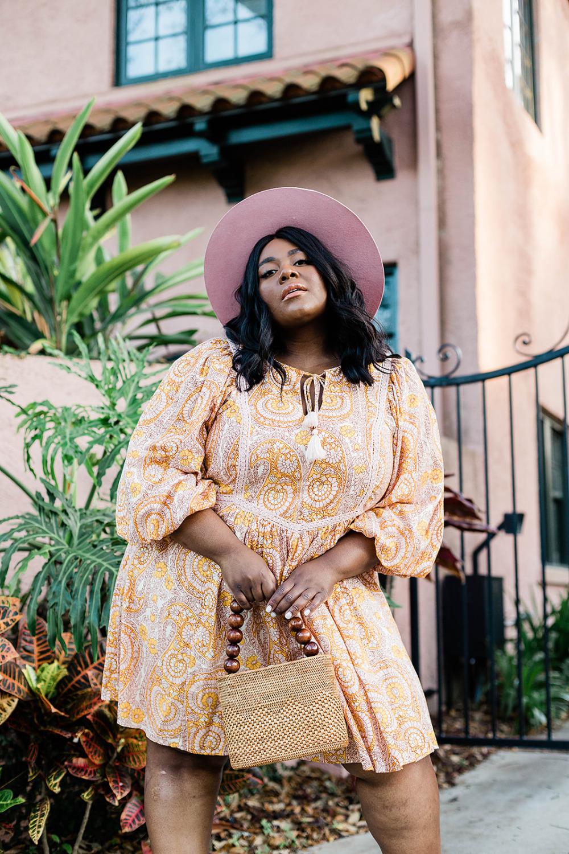 Agathe Lace Mini Dress Anthropologie, Plus Size Model, Lack of Color Sierra Rose Hat