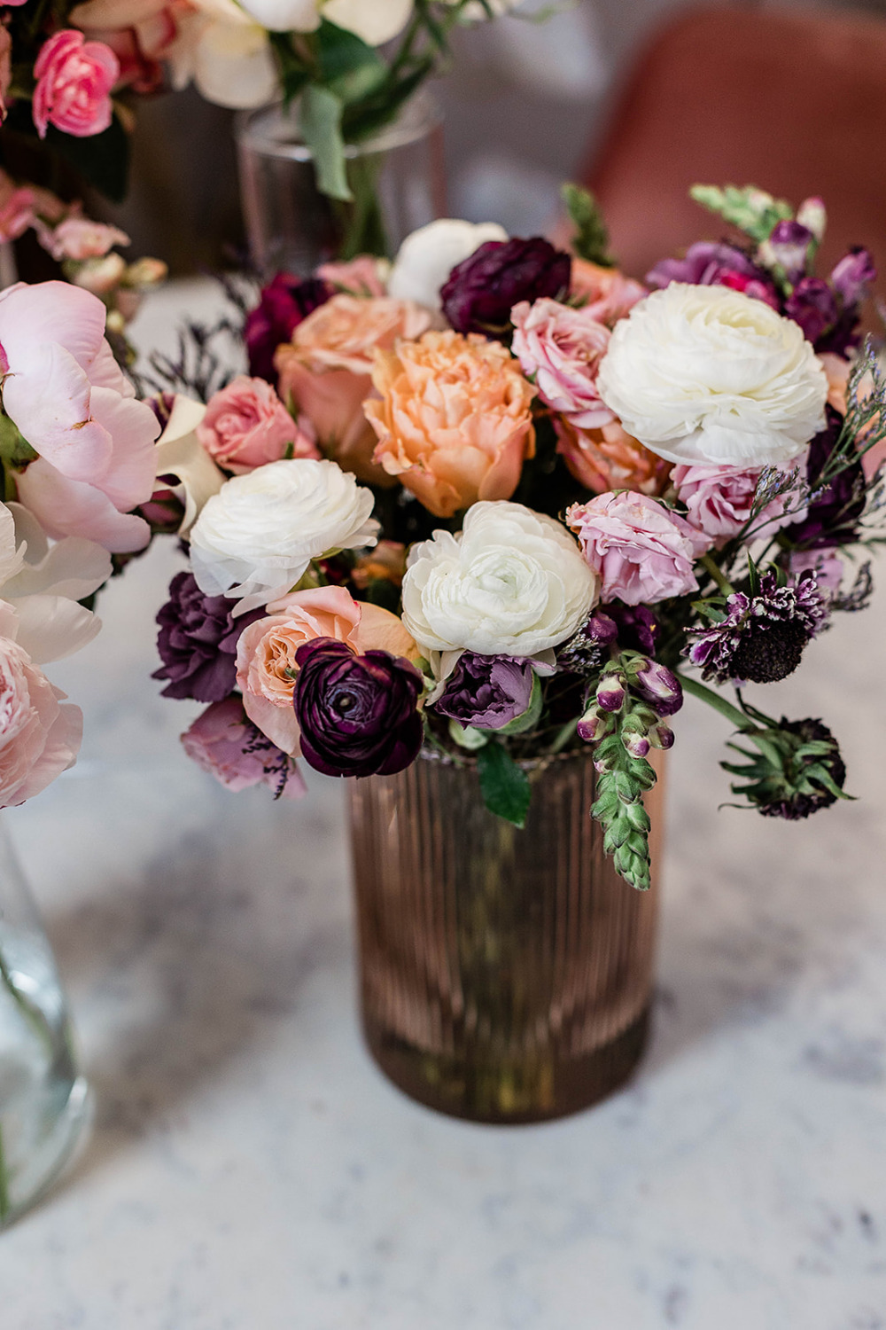 Urban Stems, Floral Arranging, Decorating Office, Flowers in vase, Girl working in office, Home Office Decor, LC Lauren Conrad