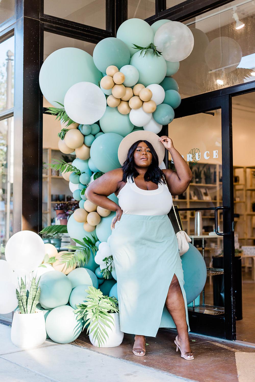 Eloquii Wrap Skirt, Balloon Garland, Plus Size Model, Eloquii Bodysuit