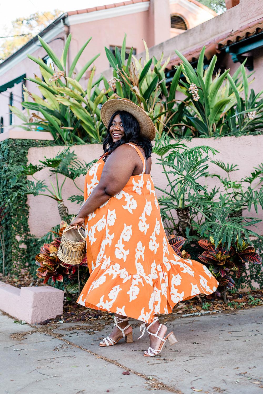 Phoebe Flounced Maxi Dress Anthropologie Plus Size Fashion Vacation Style, Black Woman on Island Vacation
