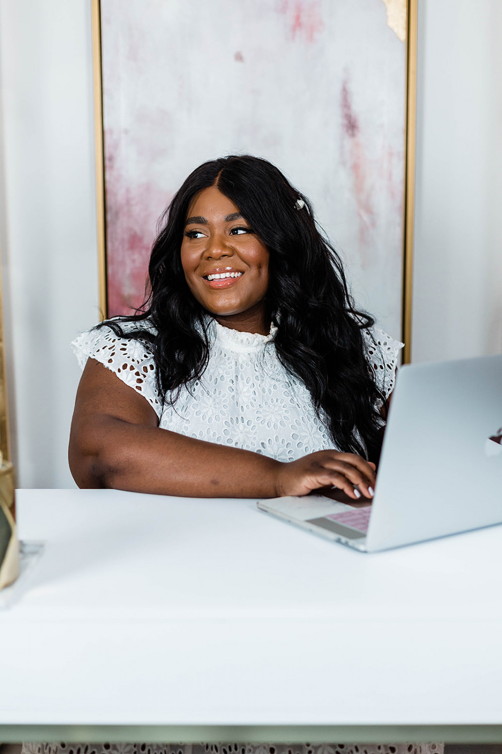 New Website, Smash Creative, Boho Blush Web Design, Musings of a Curvy Lady, Eloquii Puff Sleeve Dress, Cottage core, Plus Size cottage core dress, Black Woman On her Phone, Black Woman Shopping online, Black woman working in her home office smiling
