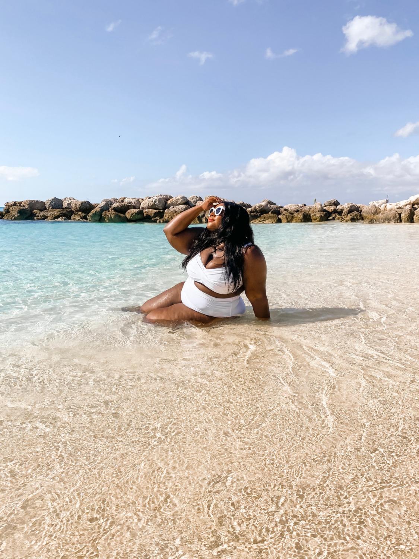 Plus Size Travel, Plus Size Swimsuit, Plus Size Girl on Beach, Princess Cay Bahamas, Bali