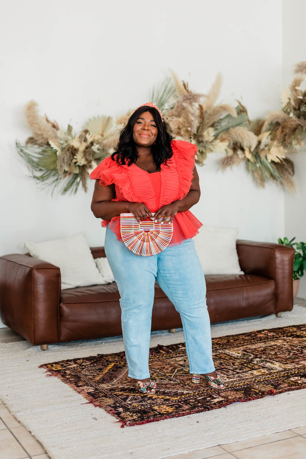 Anthropologie Pleated Tulle Blouse, Forever 21 Plus Size Straight Leg Jeans, Loeffler Randall Penny Bow Mules, Anthropologie Embellished Twist Knot Headband, Thamarr Musings of a Curvy Lady