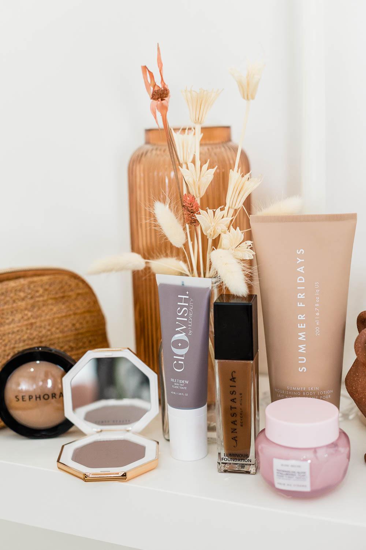 Makeup for Dark Skin, Bom Dia Bright™ Body Cream, Sephora, GloWish, Glow Recipe, Summer Fridays, Paula's Choice, Fenty Beauty Sun Stalk'r, Summer Fridays