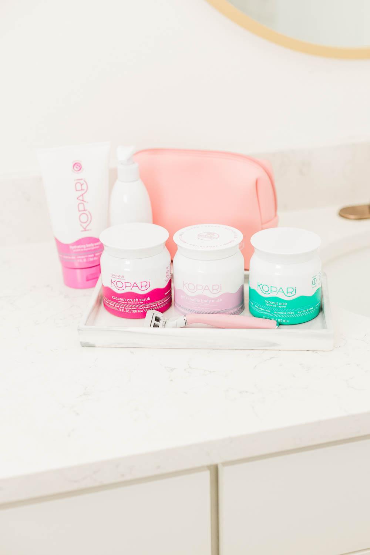 Woman shaving, Body Masking, Kopari Body Soufflé, Kopari Organic Coconut Melt, Flamingo Razor, How to Get the Closest Shave, Shaving for Beginners , Shaving Oil, Kopari Beauty