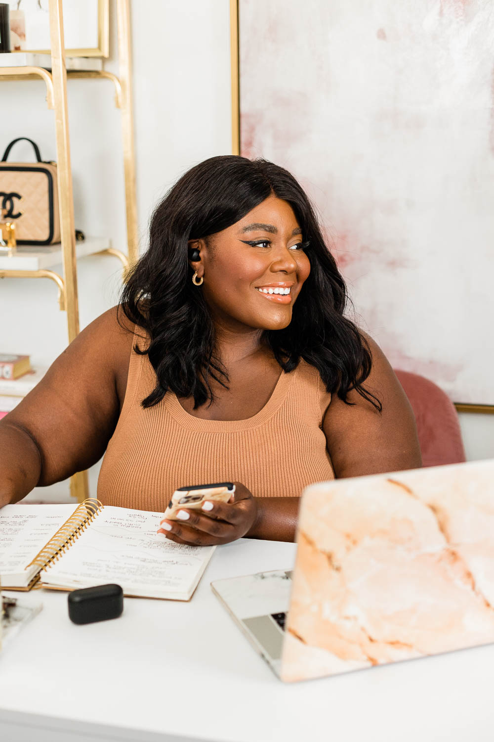 Favorite Apps to Create Content, Black Woman working from Home Office