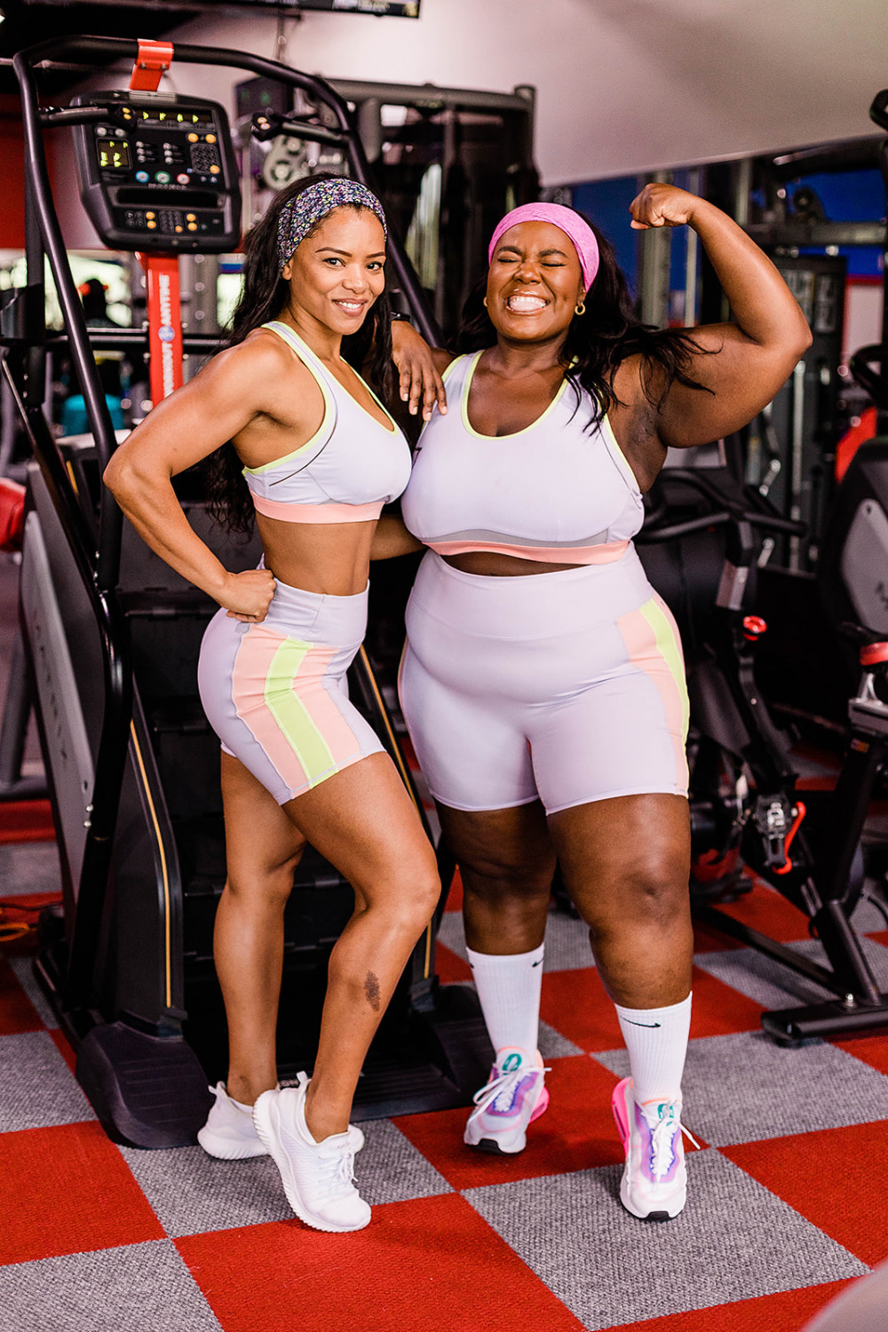 Fabletics Model, Two women Working out at the Gym, All bodies at the gym, Body positive, Fitness for all, movement for all