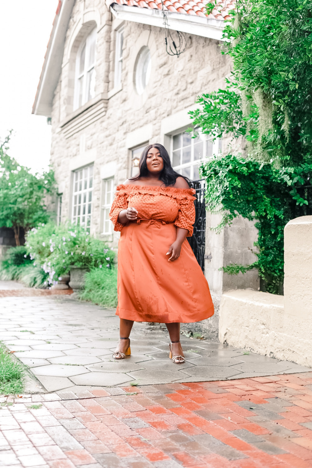 JCPenney Ryegrass Plus Womens Straight Neck 3/4 Sleeve Blouse Ryegrass Womens Midi A-Line Skirt-Plus Thamarr Musings of a Curvy Lady, Monochrome Fall Look, Terracotta Fall Outfit