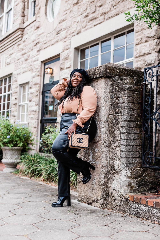 Paris, Parisian Inspired Outfit, Plus Size Fall Outfit, Faux Leather Pants, Plus Size Fashion, Eloquii, Chanel Caviar CC Vanity Case