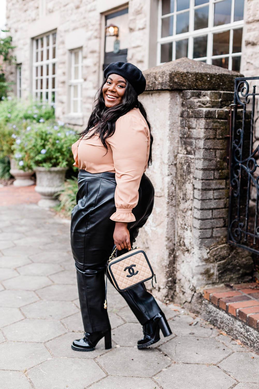 Paris, Parisian Inspired Outfit, Plus Size Fall Outfit, Faux Leather Pants, Plus Size Fashion, Eloquii, Chanel Caviar CC Vanity Case, Jeffrey Campbell Legion Heel Boots