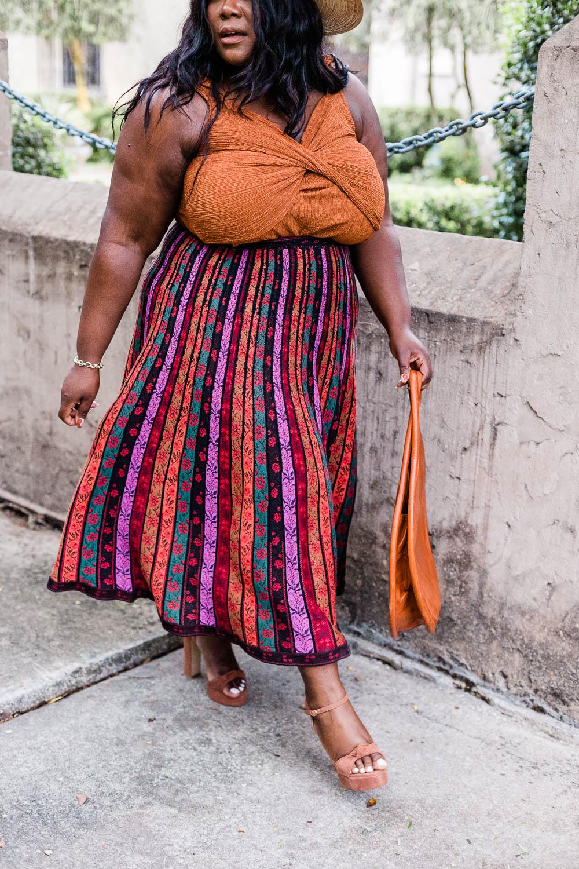 Anthropologie Twist-Front Shimmer Tank, Pleated Knit Midi Skirt, Plus Size Fashion, Thamarr, Women's Fall Outfit , Plus Size Fall Outfit